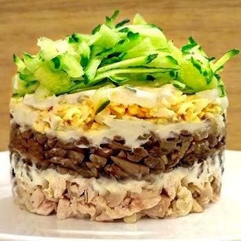 рецепты салатов с жареными грибами